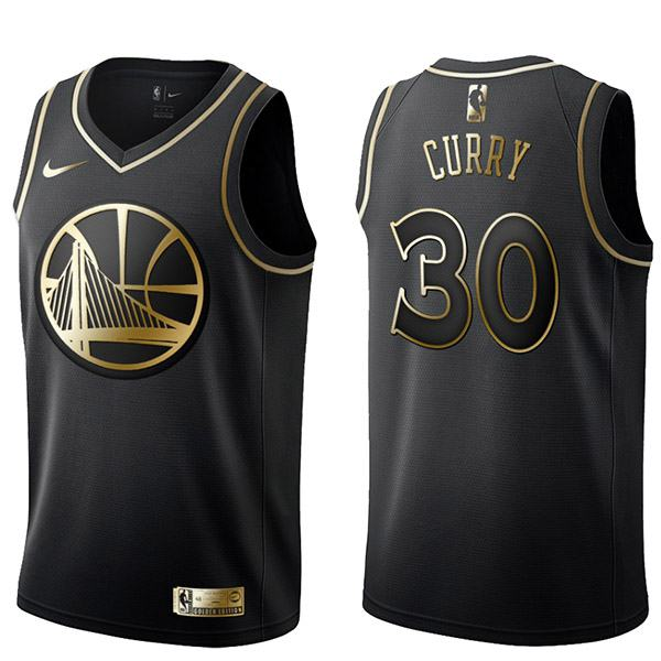 2019 All Star Game Warriors 30 Stephen Curry Black Gold Basketball Jersey