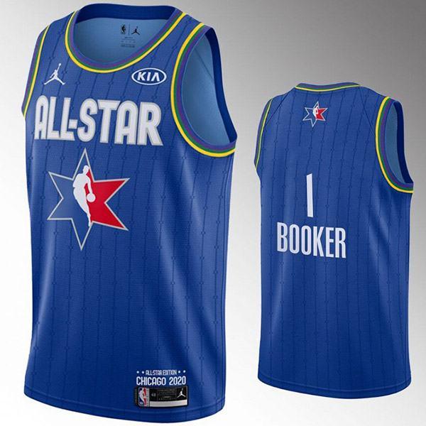 2020 all star game jordan phoenix suns devin booker 1 nba basketball swingman jersey blue edition shirt