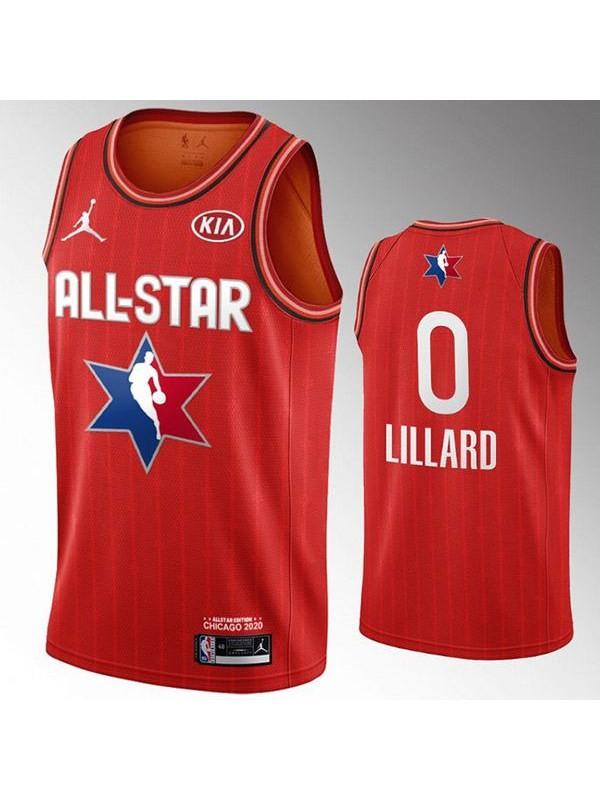 2020 All Star Game Jordan Portland Trail Blazers Damian Lillard 0 NBA Basketball Swingman Jersey Red Edition Shirt