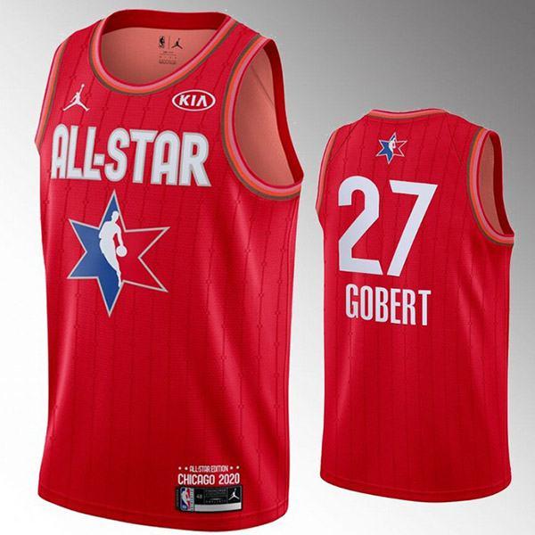 2020 all star game jordan utah jazz rudy gobert 27 nba basketball swingman jersey red edition shirt