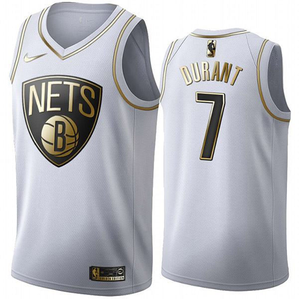All Star Game Brooklyn Nets 7 Kevin Durant DT White Gold Basketball Edition Limited Jersey 2020