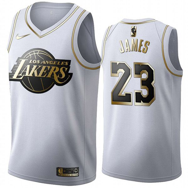 All Star Game Los Angeles Lakers 23 LeBron James White Gold Basketball Edition Jersey 2020