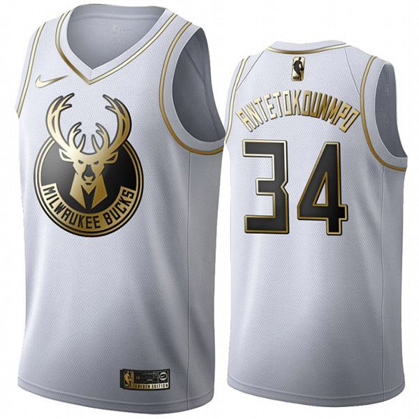 All Star Game Milwaukee Bucks 34 Giannis Antetokounmpo White Gold The Alphabet Basketball Edition Limited Jersey 2020
