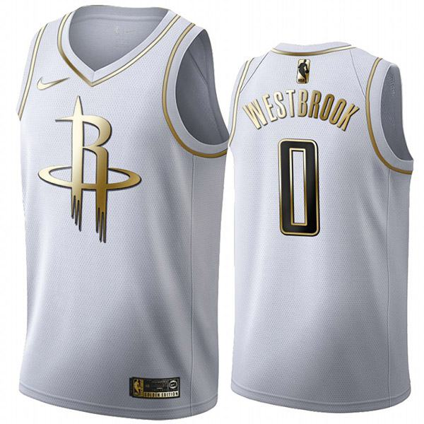 All Star Game NBA Houston Rockets 0 Russell Westbrook White Golden Basketball Edition Jersey 2020
