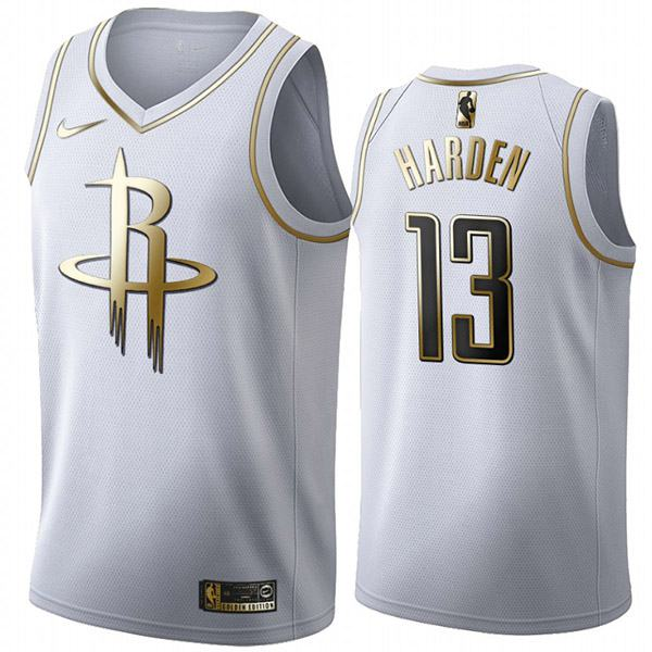 All Star Game NBA Houston Rockets 13 James Harden Nba White Golden Basketball Edition Jersey 2020