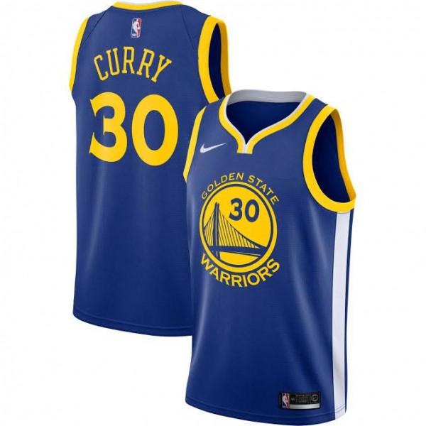 Golden State Warriors Stephen Curry 30 Icon Rakuten Royal Jersey Basketball Shirt 2019-2020