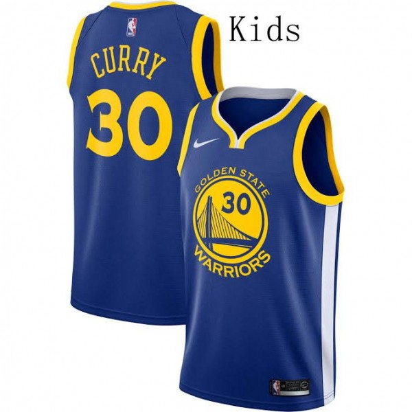 Golden State Warriors Stephen Curry 30 Kids Kit Icon Rakuten Royal Jersey Younth Basketball Shirt 2019-2020