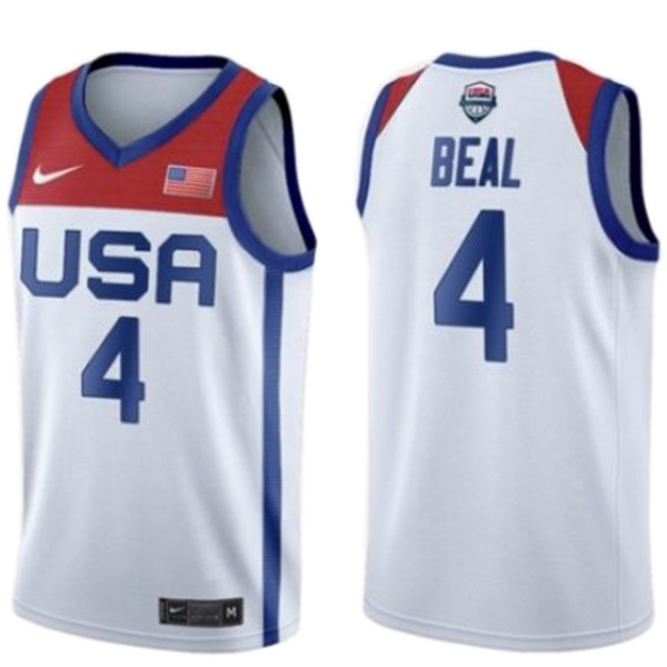 USA Team Bradley Beal 4 home basketball jersey men's statement limited 2021 tokyo olympic vest white