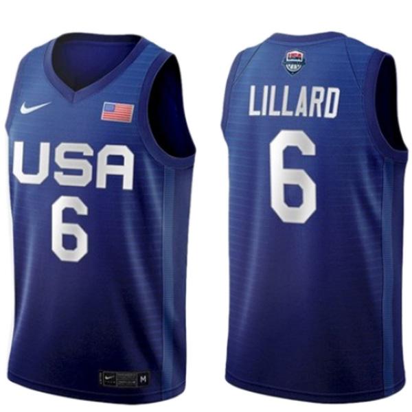 USA team Damian Lillard 6 away basketball jersey men's statement limited 2021 tokyo olympic vest blue