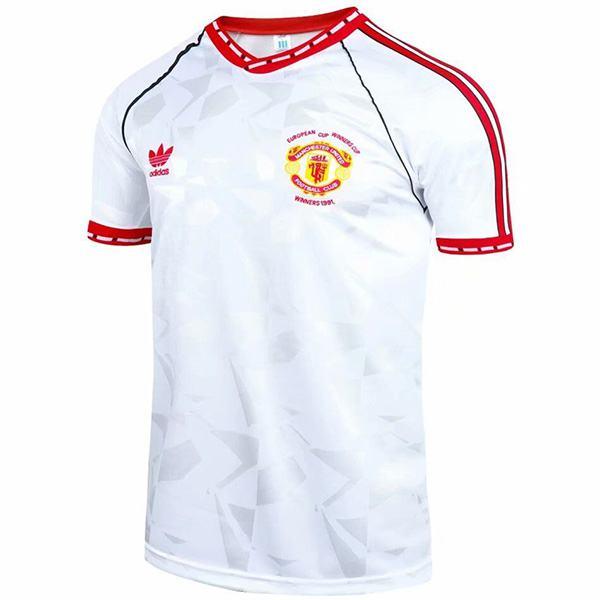 Manchester United away ECWC final retro soccer jersey maillot match men's 2ed sportwear football shirt 1991