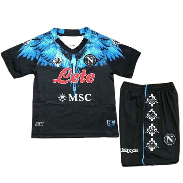 Napoli special version kids kit soccer children first football shirt maillot match youth uniforms black 2021-2022