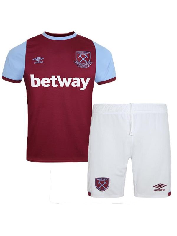 West ham home kids kit children football shirt youth soccer 1st uniforms 2020-2021