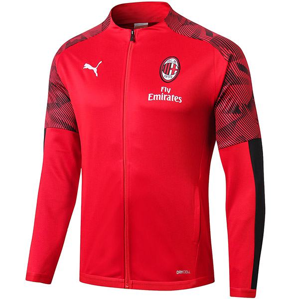 AC Milan Jacket Football Sportwear Tracksuit Full Zipper Men's Training Jersey Athletic Outdoor Soccer Coat Red 2019