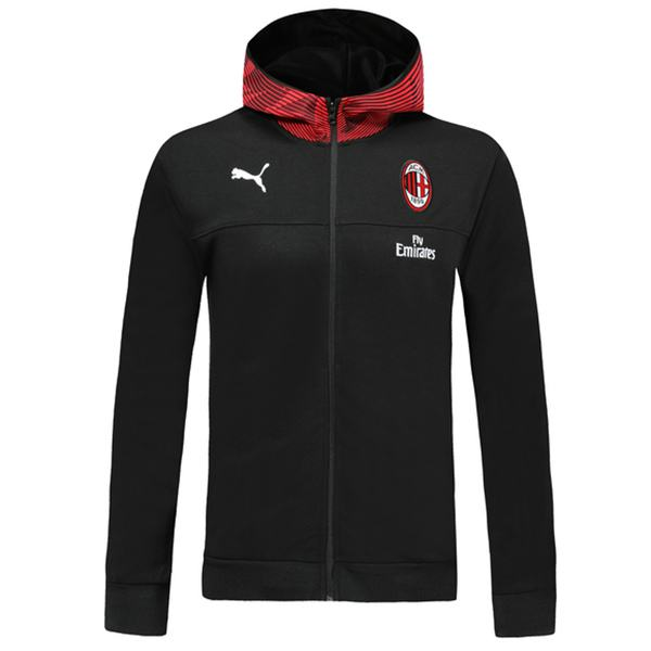 AC Milan Windbreaker Hoodie Jacket Football Sportwear Tracksuit Full Zipper Men's Training Kit Athletic Outdoor Black Red Soccer Coat 2019-2020