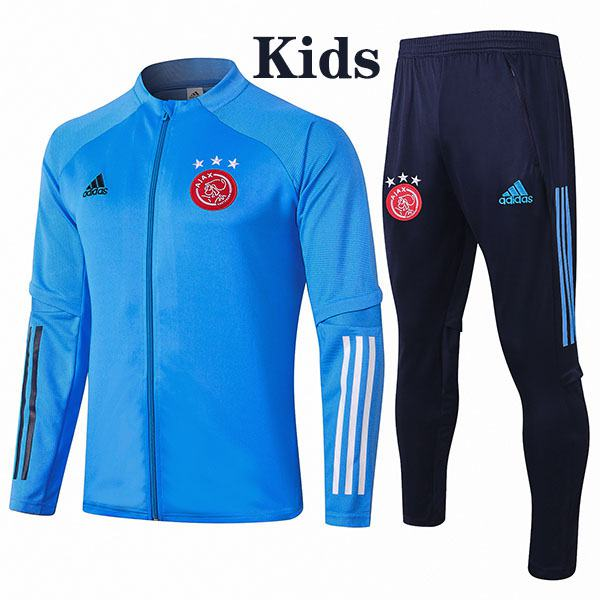 Ajax Jacket Suit Tracksuit Kids Kit Soccer Pants Suit Sports Set Hight Necked Cleats Youth Clothes Children Football Training Jersey Blue 2020-2021