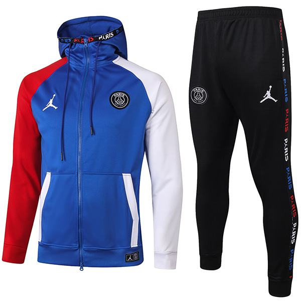 Jordan Paris Saint Germain Barcelona Hoodie Jacket Suit Borland Football Sportwear Tracksuit Full Zipper Men's Training Kit Athletic Outdoor Blue Soccer Coat 2020-2021