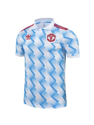 Manchester united polo jersey soccer top sports men's second training sportswear football shirt blue white 2021-2022