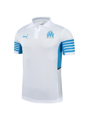 Olympique marseille polo jersey soccer top sports match men's home training sportswear football shirt white 2021-2022