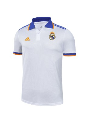 Real madrid polo jersey soccer top sports match men's home training sportswear football shirt white 2021-2022