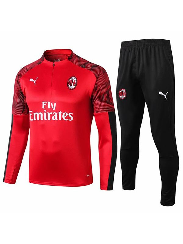 Ac Milan Tracksuit Soccer Pants Suit Sports Set Necked Cleats Men S Clothes Football Training Jersey Red