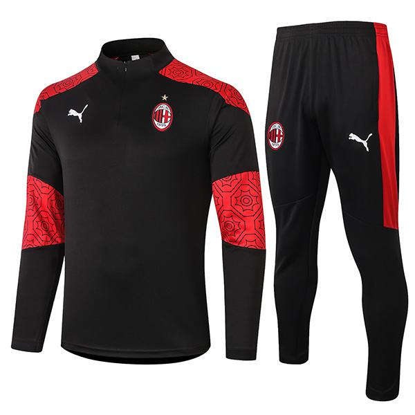 AC Milan Tracksuits Soccer Pants Suit Sports Set Necked Cleats Men's Clothes Football Training Jersey Black Red 2020-2021