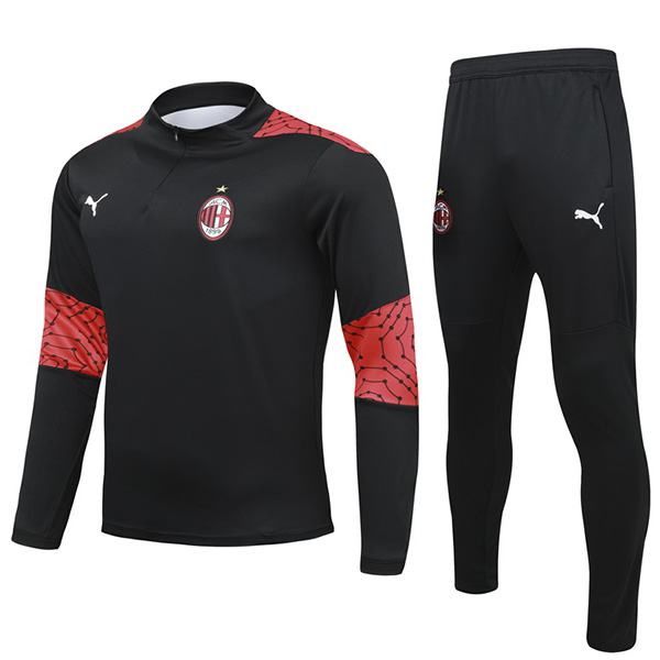 AC Milan Tracksuits Soccer Pants Suit Sports Set Necked Cleats Men's Clothes Football Training Jersey Outdoor Soccer Coat Black Red 2020-2021