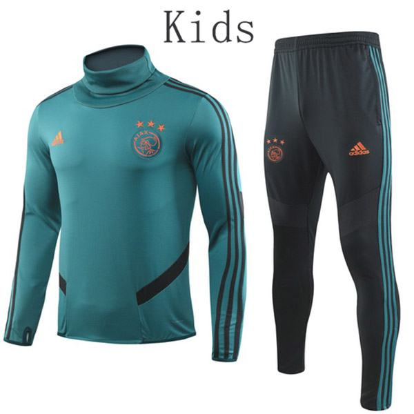 Ajax Tracksuit Kids Kit Soccer Pants Suit Sports Set High Necked Cleats Youth Clothes Children Football Training Jersey Teal 2019-2020