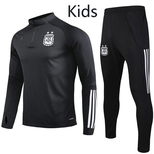 Argentina Tracksuit Kids Kit Soccer Pants Suit Sports Set Hight Necked Cleats Youth Clothes Children Football Training Jersey Black 2020-2021