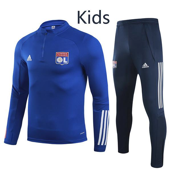 Lyon Tracksuit Kids Kit Soccer Pants Suit Sports Set Necked Cleats Youth Clothes Children Football Blue Training Jersey 2020-2021
