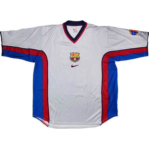 Barcelona away retro soccer jersey bogarde maillot match men's 2ed sportwear football shirt 1998-1999