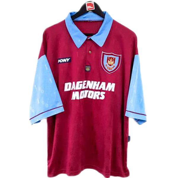 West ham united home retro soccer jersey maillot match dragon men's 1st sportwear football shirt 1995-1997