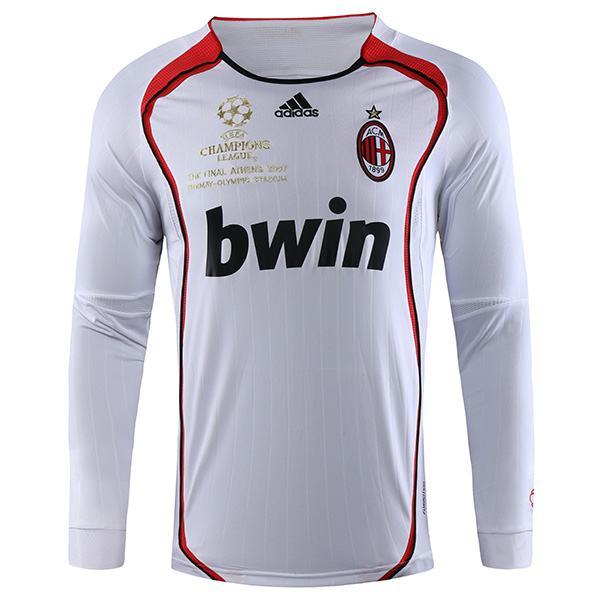 AC milan away retro long sleeve soccer jersey maillot match men's second sportwear football shirt 2006-2007