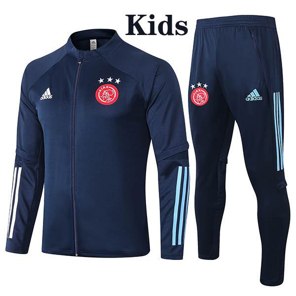 Ajax Jacket Suit Tracksuit Kids Kit Soccer Pants Suit Sports Set Hight Necked Cleats Youth Clothes Children Football Training Jersey Navy 2020-2021