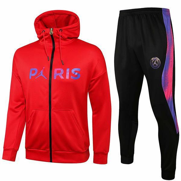 Jordan Air Paris Saint Germain Hoodie Jacket PSG Men's Football Sportswear Tracksuit Long Full Zipper Men's Training Jersey Athletic Outdoor Soccer Coat Red Black 2021
