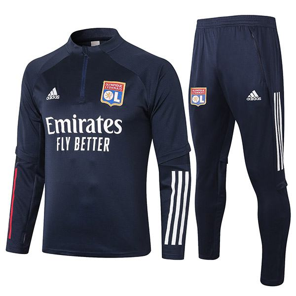 Lyon Tracksuits Soccer Pants Suit Sports Set Necked Cleats Men's Clothes Football Training Jersey Navy 2020-2021